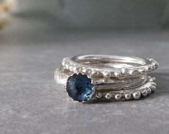 Indigo Blue Kyanite Ring, Silver Stack Rings Set, Gemstone jewelry