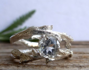 Twig Engagement Ring White Topaz Double Unique Branch Elvish Ring Jewelry April Birthstone Alternative Diamond