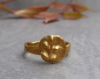 Gold Plated Coin Ring, Ancient Inspired Organic Ring