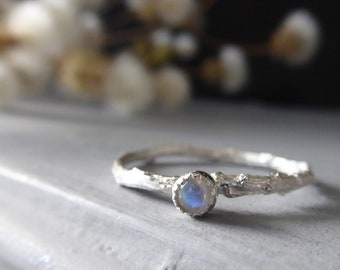 Moonstone Dainty Ring, Skinny Twig Ring, Botanical Jewelry, June Birthstone, Gift for Cancer