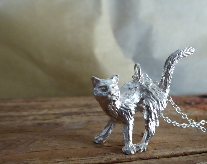 Cat Necklace Sterling Silver Halloween Animal Necklace Cat Pendant Cat lovers Kitty Necklace