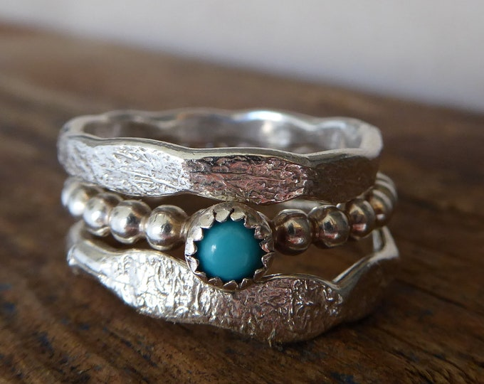 Turquoise Stacking Rings Sterling Silver Set of three Rings Gifts for her