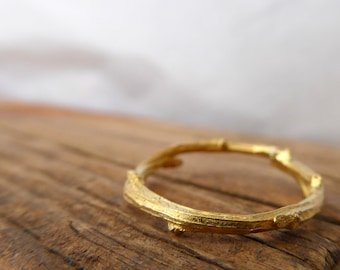 Dainty Gold Ring Gold Plated Twig Ring Elvish Ring Minimal Jewelry Nature Lover Botanical Jewelry
