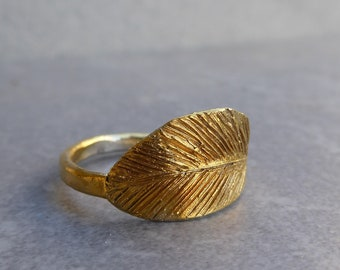 Feather Silver Ring, Gold Plated Sterling Silver Ring, Gifts for Her
