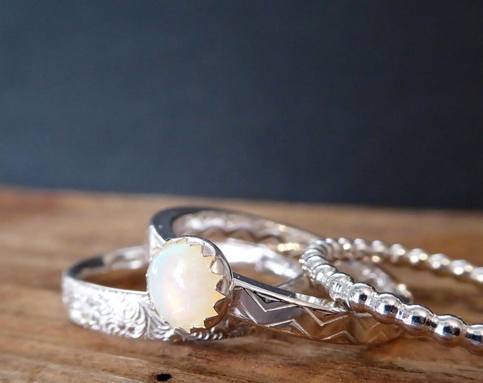 Moonstone Ring Set of three Stacking Rings Gifts for Her June Birthstone