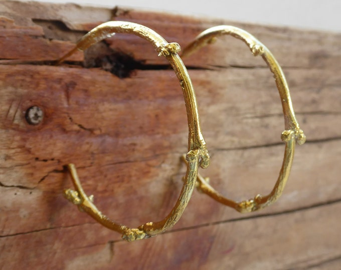 Gold Hoop Earrings Silver Hoop Earrings Twig Woodland Jewelry Gift for Her Rustic Boho Branch Jewelry Gold Twig Earrings