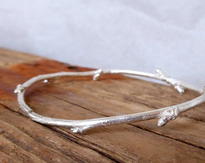 Twig Bracelet, Silver Stacking Bracelets, Nature Inspired Bracelet  Botanical Jewelry