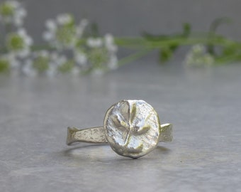 Ancient Coin Ring, Recycled Sterling Silver Ring with a Floral pattern, Ancient Inspired