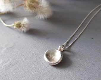 Minimal Silver Necklace, Recycled Jewelry, Dot Necklace