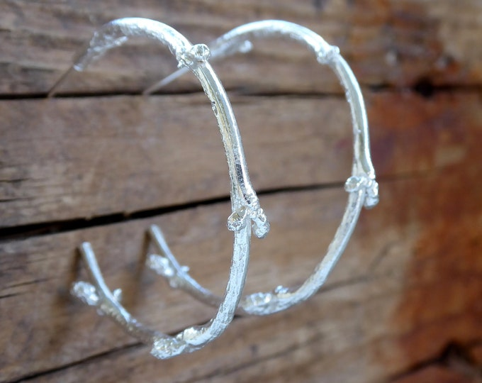 Branch Earrings Hoop Earrings Silver Hoop Earrings Twig Woodland Jewelry Gift for Her Rustic Boho Branch Jewelry Gold Twig Earrings