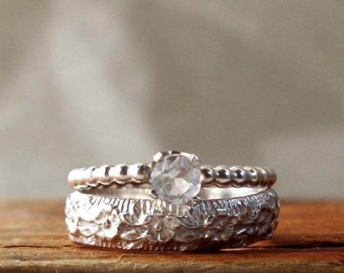 White topaz Wedding Ring Set Gemstone Ring Stack Rings Floral Botanical Gifts for Her Alternative Engagement