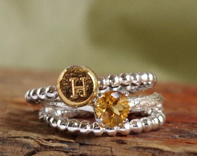 Citrine Ring Initial Ring Birthstone Jewelry Botanical Ring Jewelry November Birthstone Personalized Luxury Gift