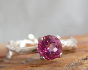 Blush Topaz Twig Ring Pink Gemstone Ring Alternative Engagement Ring Sterling Silver Stacking Ring November Birthstone Bright Pink