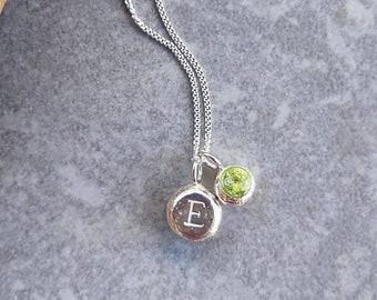 Personalized Necklace, Birthstone Jewelry, Peridot Necklace