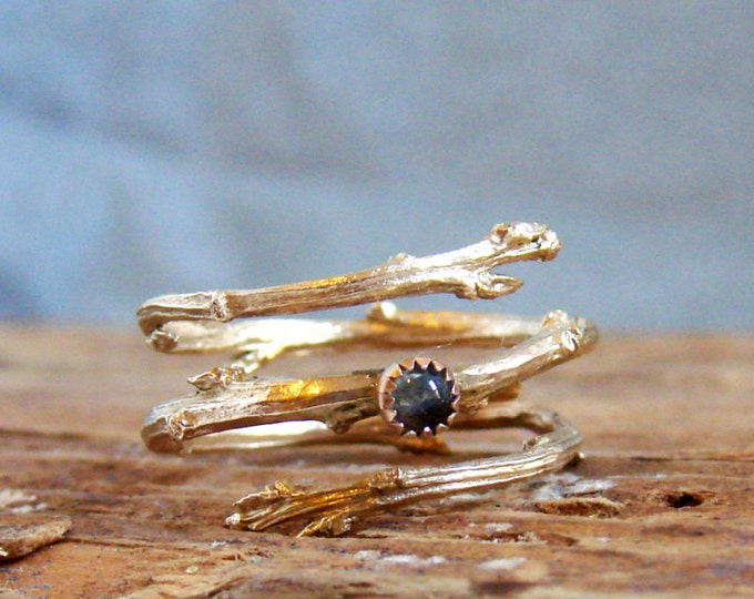 14k Gold Twig Ring Milky Aquamarine Cabochon Light Blue March Birthstone Luxury Gifts Botanical Jewelry