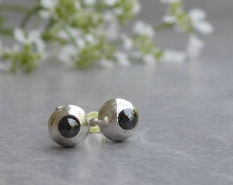 Sapphire stud earrings, recycled silver earrings, September birthstone