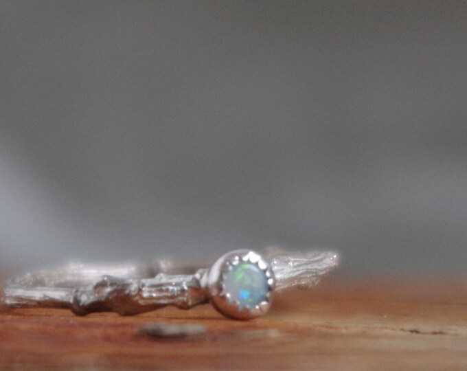 Skinny Opal Twig Ring Gift of Her October Birthstone Rainbow Opal Thin Ring Stacking Ring