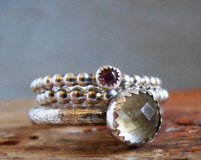 Gemstone Stack Ring Set Tourmaline and Lemon Yellow Quartz Gifts for Her Multi Stone Ring
