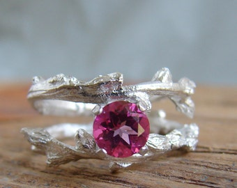 Pink Topaz Ring, Botanical Jewelry, Gift for Her, Luxury gifts, Gemstone Jewelry Alternative Engagement Ring Silver Twig Ring