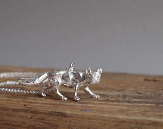 Fox Necklace Silver Jewelry Fox Pendant Woodland Creature Forest Fall Jewelry