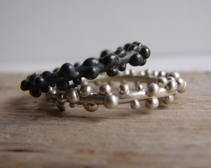 Oxidized Black Silver and White Stacking Rings Dew Drops Sterling Silver