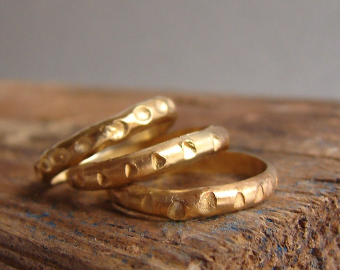 Gold Stacking Rings Set Wabisabi Gifts for Her