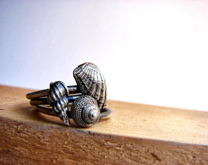 Nautical Stacking Rings Sea shell Jewelry Everyday Rings Nature Inspired Stacking Rings
