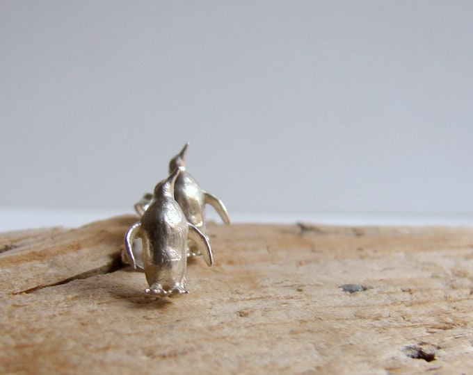 Tiny Silver Studs Penguin Stud Earrings Animal Jewelry Earrings Gifts for Her Under 50 Everyday jewelry