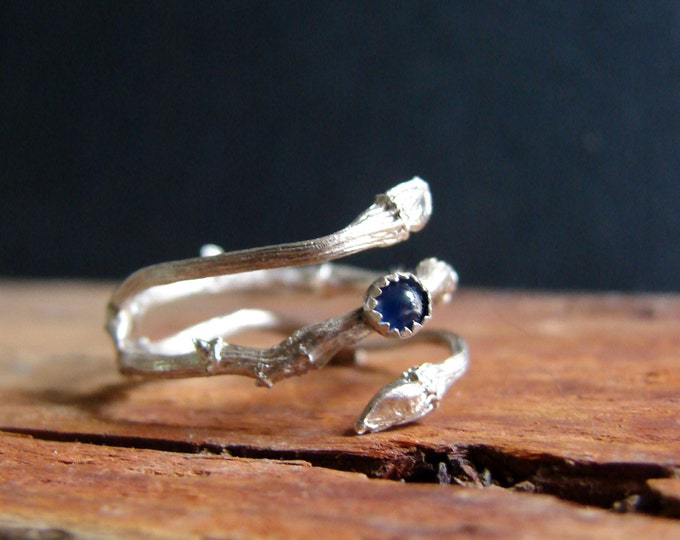Blue Sapphire Botanical Ring Gifts for Her
