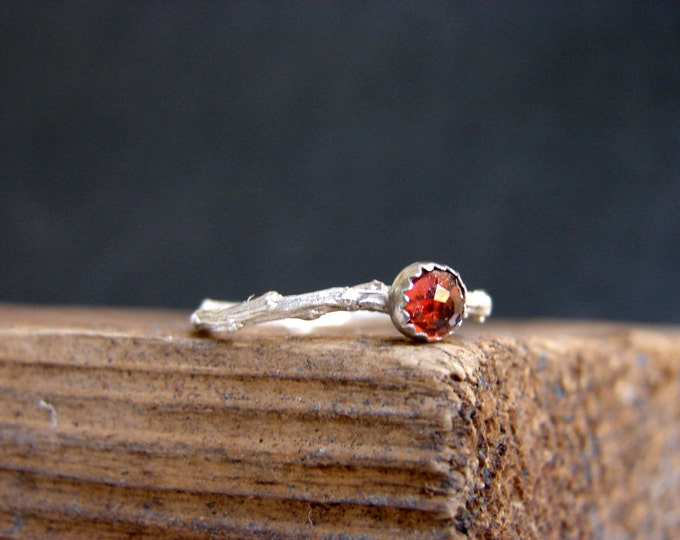 Garnet Skinny Twig Ring Stacking Ring Gemstone Ring Botanical Jewelry January Birthstone