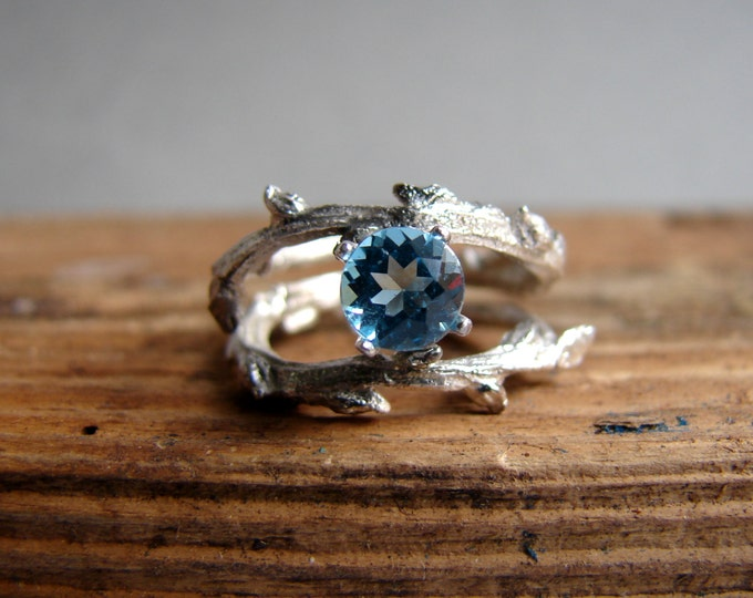 Blue Topaz  Engagement RingDouble Twisted Branch Elvish Twig  Ring Organic Jewelry December Birthstone