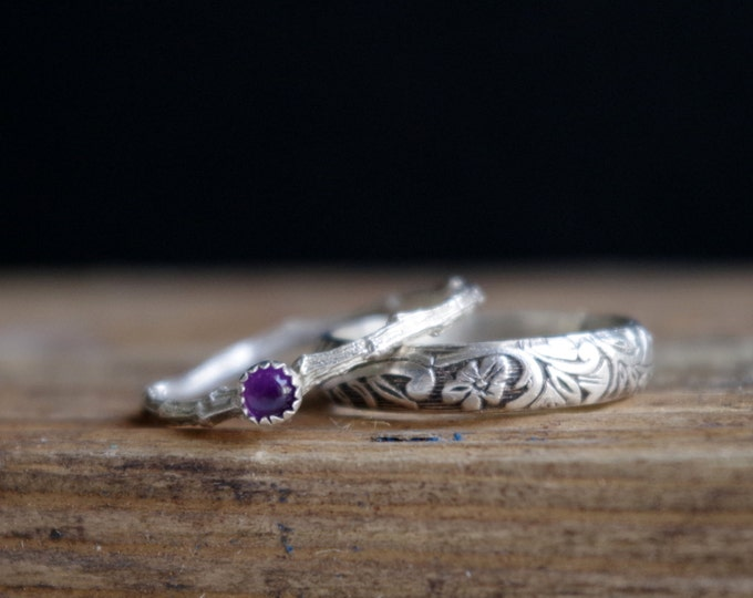 Sterling Silver Amethyst Set of  Stack Rings Floral Antique Band Ring Twig Ring Rustic February Birthstone