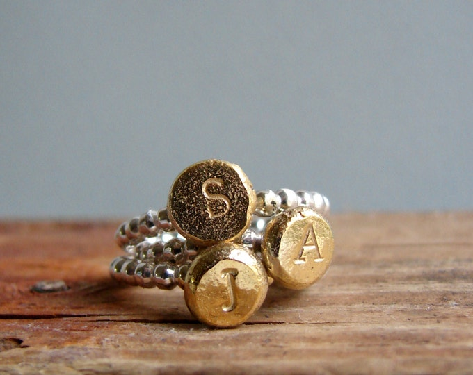 Initial Ring Custom Letter Gold Plated Alphabet Jewelry Typography Personalized Gifts for Her Under 75
