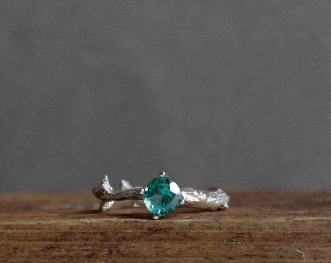 Sparkling Green Topaz Twig Ring Alternative Engagement Ring Sterling Silver Botanical Ring