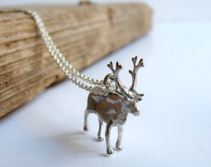 Moose Reindeer Necklace Pendant sterling silver Christmas Rudolph Deer Buck Animal Necklace