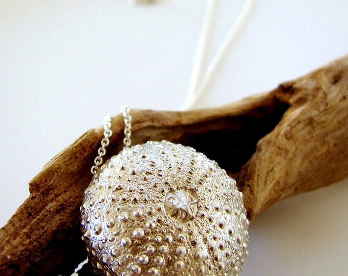 Sea Urchin Pendant Sterling Silver Sea Creature Necklace Statement Jewelry