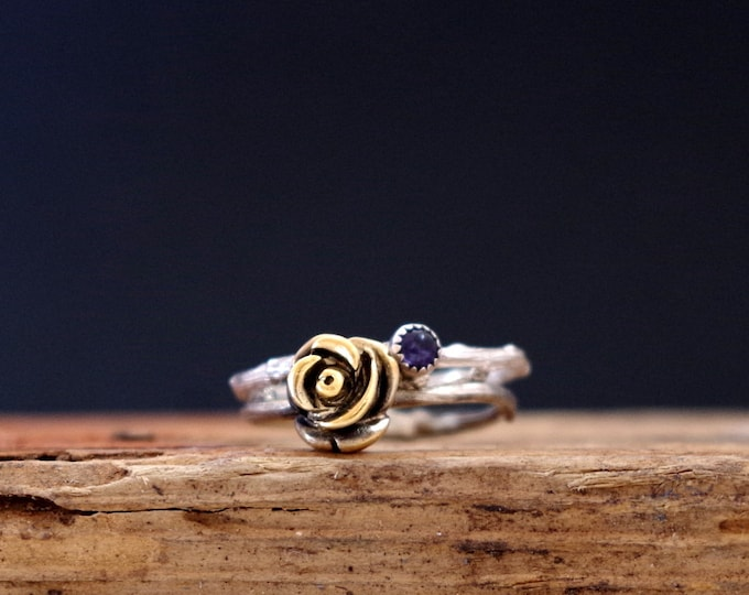 Stack Ring Rose Ring Amethyst Gemstone Ring Twig Purple Jewelry Gifts for Her