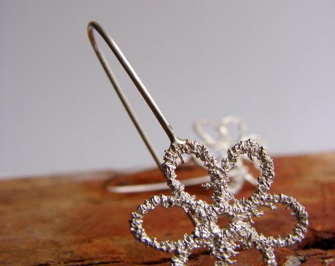 Lace Earrings Flower Sterling Silver Dangle Earrings