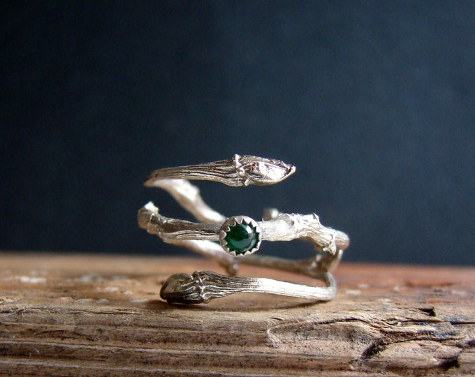 Emerald Ring Silver Twig Witch Ring Sterling Silver Botanical Ring May Birthstone Gifts for Taurus