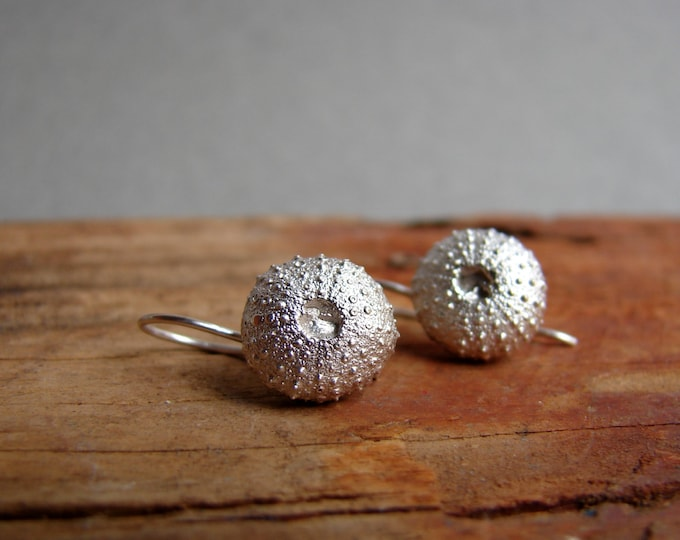 Sea Urchin Silver Dangle Earrings Jewelry  Nature Inspired Organic Jewelry