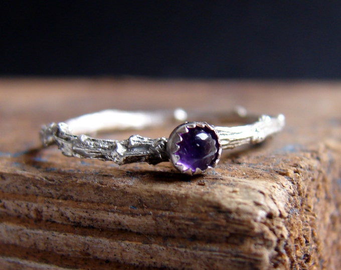 Skinny Ring Twig Ring Stacking Ring Amethyst Gemstone Ring Botanical Jewelry February Birthstone