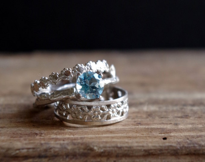 Sterling Silver Stack Rings Swiss Blue Topaz Floral Ring Gemstone Ring Botanical Jewelry
