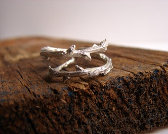 Twig Ring Sterling Silver Ring Botanical Jewelry Branch Thorn Ring  Elvish Ring Nature Lover Gifts Woodland