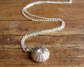 Urchin Necklace Sterling Silver Charm Necklace Minimal Jewelry Nautical Mothers Day Gifts for Her