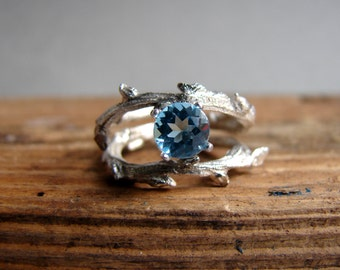 Blue Topaz Branch Ring, Alternative engagement ring, Double Twig Sterling Silver Ring