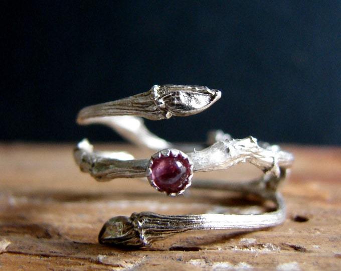 Witch Ring Twig Double Ring with Pink Tourmaline Botanical Silver Jewelry October Birthstone