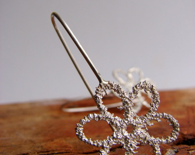 Lace Earrings Flower Sterling Silver Dangle Earrings