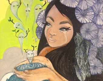 Nature water spirit women with tears creating rebirth