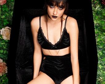 bat print goth bralette bra and panty set   pastel goth lingerie gothic lingerie   velvet bra velvet panties bat lingerie handmade lingerie