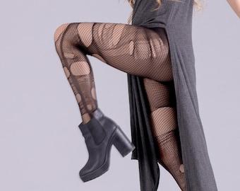 Double layered Nu goth tights torn fishnet stockings witch tights   black fishnet tights fishnet leggings    tattoo tights punk tights